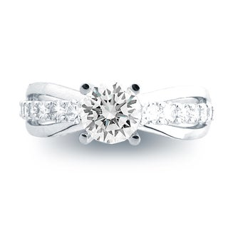Azaro 14k White Gold 1/2ct TDW Diamond Split-shank Engagement Ring with 1ct Cubic Zirconia Round Center (H-I, SI1-SI2)