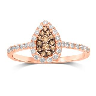 Unending Love 10k Rose Gold 3/8k Brown/White Diamond Pear Shape Top Fashion Ring