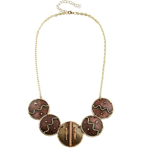 Handmade Artisan Tri-color Stainless Steel Mixed Metals Zig Zag Discs Necklace (India) - copper