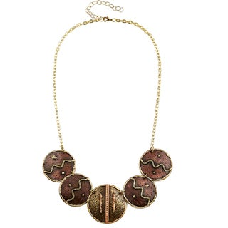 Handmade Artisan Tri-color Stainless Steel Mixed Metals Zig Zag Discs Necklace (India)