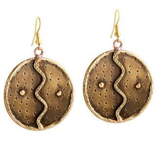 Handcrafted Artisan Burnished Brass Zig Zag Round Dangle Earrings (India)