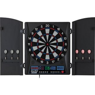 Fat Cat Electronx Black Acrylic Electronic Soft Tip Dartboard with Cabinet