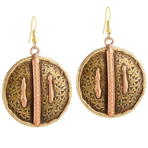 Handmade Artisan Copper Lines Embossed Round Disc Dangle Earrings (India) - Bronze