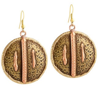 Handmade Artisan Copper Lines Embossed Round Disc Dangle Earrings (India)