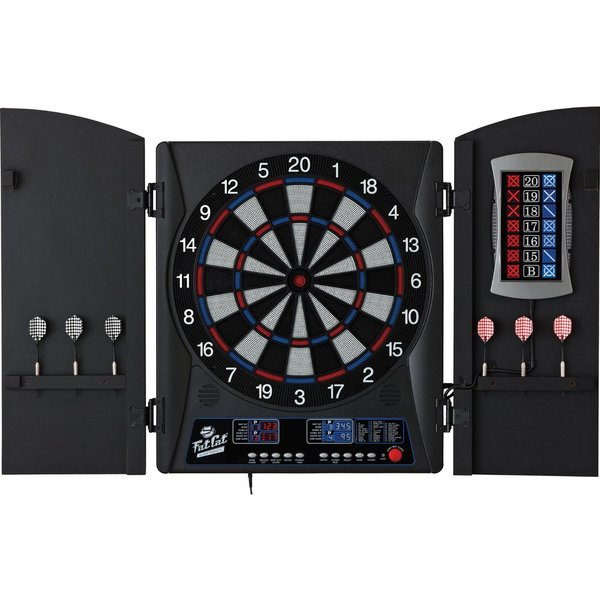 Fat Cat Mercury Electronic Soft Tip Dartboard With Cabinet   Black