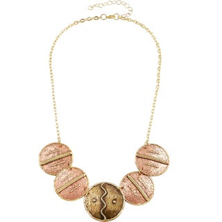 Handmade Artisan Two-tone Stainless Steel Mixed Metals Copper Discs Necklace (India)