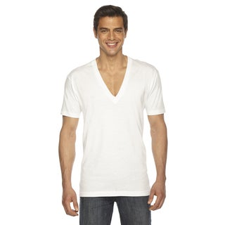 American Apparel Unisex White Cotton Short-sleeve Deep V-neck Sheer Jersey T-shirt