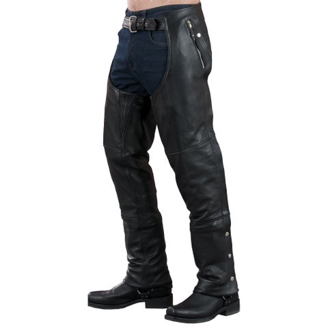 Men's Black Leather 4-pocket Thermal Lined Chap