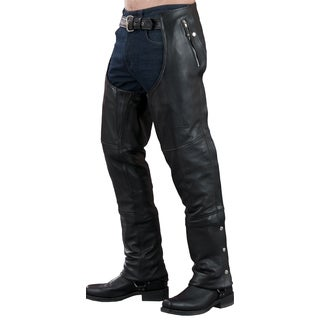 Men's Black Leather 4-pocket Thermal Lined Chap (More options available)