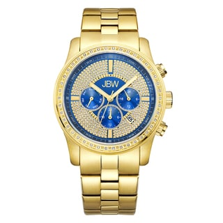 JBW Vanquish J6337E Men's 18k Goldplated Stainless Steel Diamond Blue Dial Multi-fuction Watch
