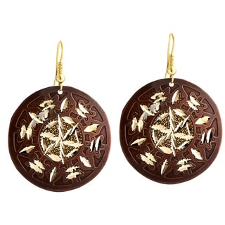 Handmade Artisan Two-tone Diamond Cut Round Abstract Design Dangle Earrings (India)