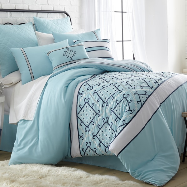 Amraupur Overseas Arizona Blue Embroidered 8-Piece Comforter Set