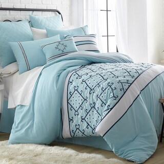 Amraupur Overseas Arizona Blue Embroidered 8-Piece Comforter Set
