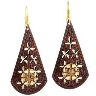 Handcrafted Artisan Two-tone Diamond Cut Sparkle Dangle Earrings (India)