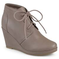 Journee Collection Women's 'Gentry' Lace-up Vegan Lace-up Wedge Booties