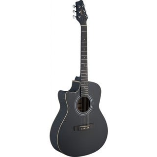 Stagg SA30ACE-BK LH Black Left-handed Auditorium Cutaway Acoustic-electric Guitar