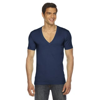 American Apparel Unisex Navy Cotton Sheer Jersey Short-sleeve Deep V-neck T-shirt