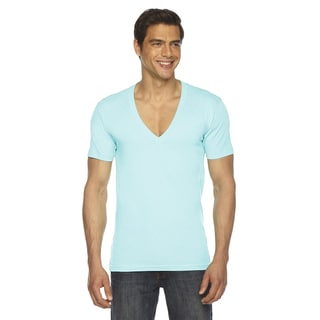 American Apparel Unisex Blue Cotton Short Sleeve V-neck T-shirt