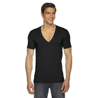 American Apparel Men's Black Cotton Jersey Short-sleeve Deep V-neck Shirt