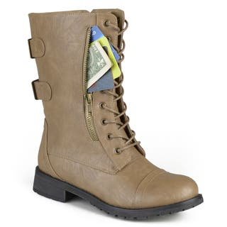 Journee Collection Women's 'Kendel' Lace-up Buckle Combat Boots|https://ak1.ostkcdn.com/images/products/12105410/P18967490.jpg?impolicy=medium
