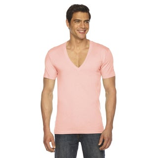 American Apparel Unisex Sheer Jersey Apricot Short-sleeve Deep V-neck