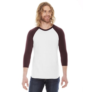 American Apparel Unisex White and Truffle Polyester and Cotton Baseball Raglan T-shirt