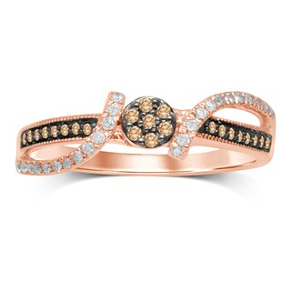 Unending Love 10k Rose Gold 1/4k IJ I2-I3 Diamond Brown Flower Center Milgrain Fashion Ring