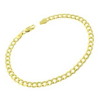 0.925 Sterling Silver 5-millimeter Solid Cuban Curb Link Gold Plated ITProLux 9-inch Bracelet Chain