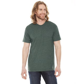 American Apparel Unisex 50/50 Heather Forest Green Polyester and Cotton Short-sleeve T-shirt