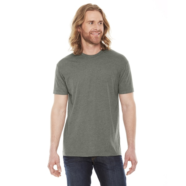 American apparel unisex heather lieutenant grey cotton for 50 percent cotton 50 percent polyester t shirts