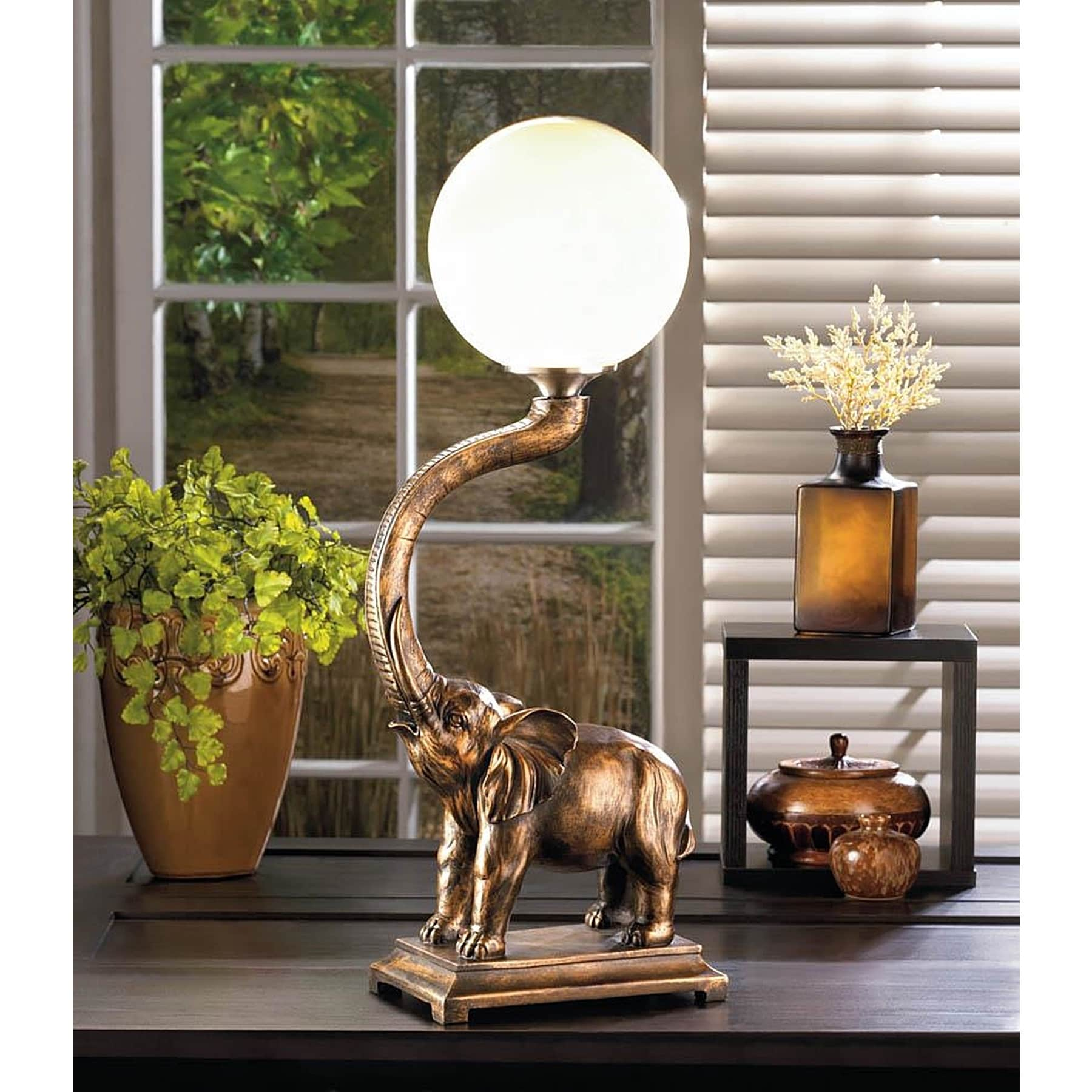 Silhouette African Elephant Table Lamp, Brown (Plastic)