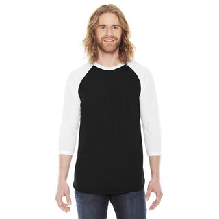 American Apparel Unisex Black and White Poly-cotton Baseball Raglan T-shirt