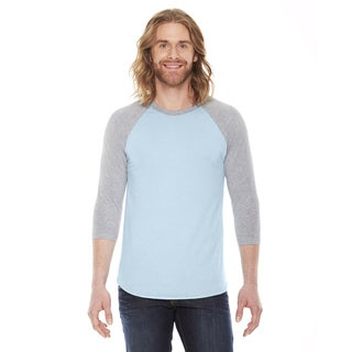 American Apparel Unisex Baseball Light Blue/Grey Poly/Cotton Raglan T-Shirt