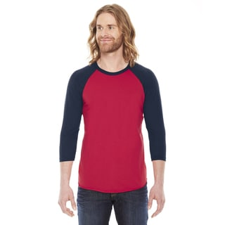 American Apparel Unisex Red and Navy Poly-cotton Baseball Raglan T-shirt