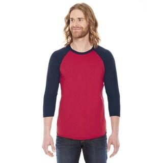 American Apparel Unisex Red and Navy Poly-cotton Baseball Raglan T-shirt