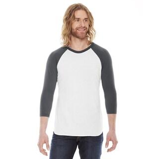 American Apparel Unisex White/Asphalt Polyester/Cotton Baseball Raglan T-shirt
