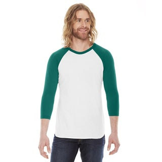 American Apparel Unisex White and Evergreen Polyester and Cotton Baseball Raglan T-shirt