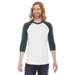 American Apparel Unisex Baseball White/Forest Poly/Cotton Raglan T-Shirt