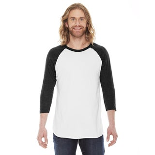 American Apparel Unisex White/Black Polycotton Baseball Raglan T-shirt