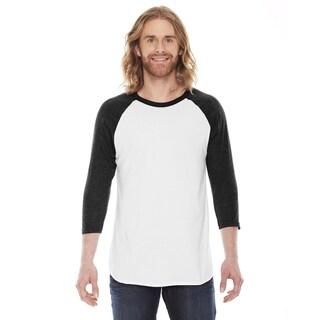 American Apparel Unisex White/Black Polycotton Baseball Raglan T-shirt