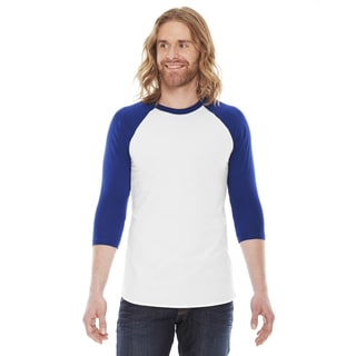 American Apparel Unisex White/Lapis Polyester/Cotton Baseball Raglan T-shirt