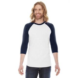 American Apparel Unisex Baseball White/Navy Poly/Cotton Raglan T-shirt