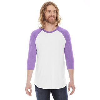 American Apparel Unisex White and Orchid Polyester and Cotton Baseball Raglan T-shirt