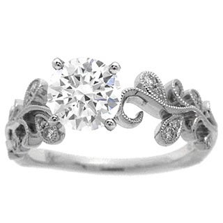 Azaro 14K White Gold 1/10ct TDW Diamond Floral Engagement Ring (H, SI1-SI2)