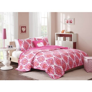 Mi Zone Athena Pink 4-piece Coverlet Set