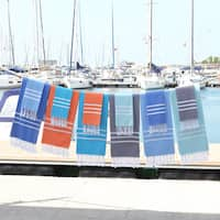 Authentic Ella Pestemal Fouta Turkish Cotton Beach and Head Towel Set (Set of 2)