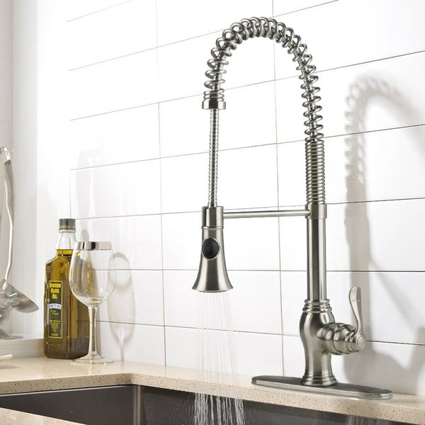 Shop Ispring Brushed Nickel Kitchen Faucet Stainless Steel Pull Down