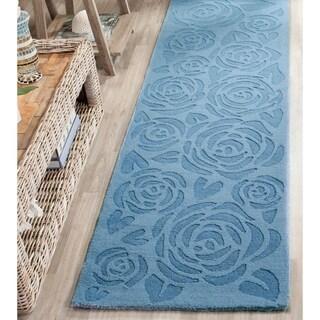 Martha Stewart by Safavieh Block Print Rose Thistle Blue Wool Rug (2' 3 x 8')