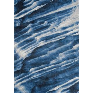 Aumbry Blue/White Polypropylene Winter Sky Rug (7' 10 x 10' 10)