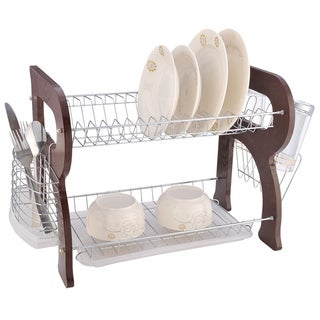 Euro Ware Cherry Wooden 2-tier Dish Rack